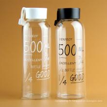 Tasse d'eau chaude de vente de la capacité 550ml, nouvelle bouteille en verre de l'eau de conception