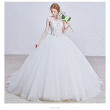 A-line style sleeveless samll flower appliqued Strapless wedding dress Full skirt Bubble bridal gown TS150
