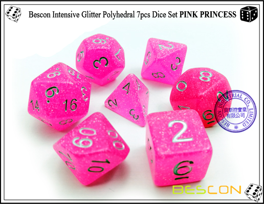 Bescon Intensive Glitter Polyhedral 7pcs Dice Set PINK PRINCESS-2