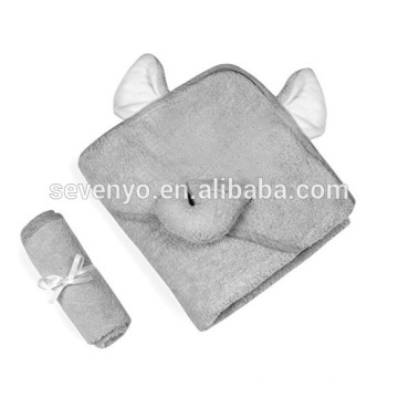 100% бамбуковое волокно,роскошные с капюшоном ребенка полотенцем и мочалкой комплект | серый Слон дизайн | Дополнительный мягкий Бамбук ребенка полотенцем