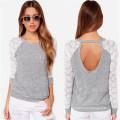Estilo coreano Slim Fitting encaje moda para mujer camiseta (50152)