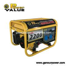 Power Value Taizhou 2kw generador de gasolina 220v con certificación ISO