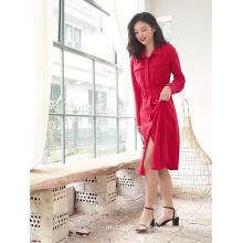 2020 women Red casual ladies wears shirt dress long sleeve good price