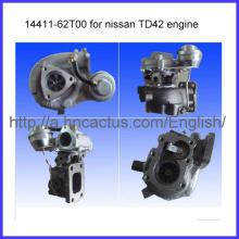 Excelente turbocompresor Td42 motor Ht18 14411-62t00 para Nissan