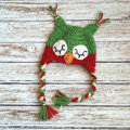 Christmas sleepy owl crochet hat in red and green for baby