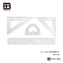 4 PC 30cm Student Plastic Ruler Set Office Stationery