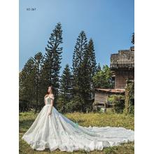 Luxury modern nice wedding dresses white princess bridal train dresses heavy beaded wedding gowns