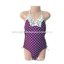 Children's Swimwear with Allover Dotted Fabric, Made of Nylon and Spandex, Various Sizes Available