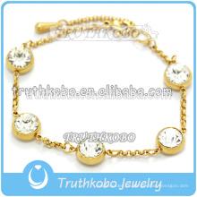Pulsera de cadena de acero inoxidable chapado en oro PVD Pulsera Figaro de diamante chapada en oro de 14 k