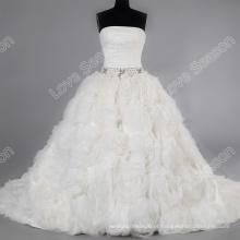 LS0122 100% fotos reais feitas à mão luxuosos vestidos de casamento de flores à venda vestido de noiva organza strapless vestido de noiva londres