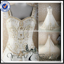 RSW579 Projetos de bordado para cristais de cristal Long Cathedral / Royal Train Champagne Colored Wedding Dresses