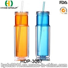 2017 New Arrival Double Wall Plastic Mug with Straw (HDP-3067)