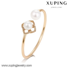 51734 Wholesale beautiful jewelry gold plated colorful pearl bangle for women
