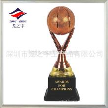 Trophée de basket-ball en blanc bronze trophée de basketball en plastique