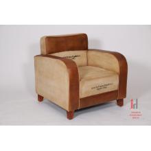Leather & Canvas Printed Sofa