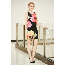 Mais recente moda nova impressão digital posicionamento vestido em grande flor padrão