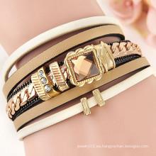 Alibaba expreso joyas multi capas cuero envuelta pulsera de cristal pulsera de mujer