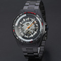multi function travel watch skeleton design with stainless steel band