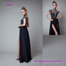 The High Split Front Floor-Length Black Evening Dress
