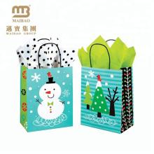 Bolso de la Navidad del papel de Kraft de las pequeñas compras del regalo de la alta calidad de la impresión de encargo del logotipo de los tamaños bajos