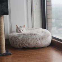 Lit de luxe pour chat et chien en fourrure de velours avec donut