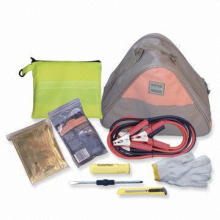 Emergency Tool Set, Includes Toolkits, Caution Marks, Towing Rope, Car Cable and Emergency Torch