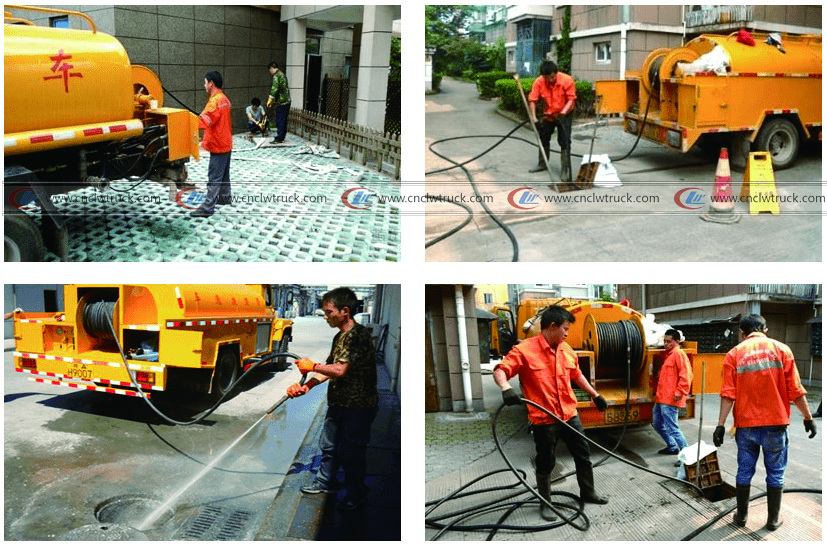 High pressure washing truck working situation-logo