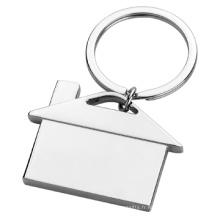 Cadeau métallique Logo imprimé personnalisé Keychain simple en forme de maison (F1325)