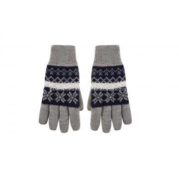 Вязаные перчатки с жаккардовым принтом и снежинками для мальчиков
