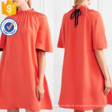 Laranja manga curta solto plissado a linha mini vestido de verão manufatura grosso moda feminina vestuário (t0276d)