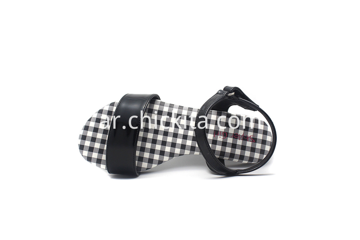 Children Flat Fashion Sandals with Plaid insole