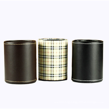 Classical PU Leather Round Pen Holder