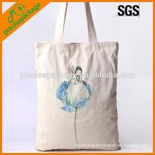bolsa de mão de lona de algodão com impressão artística