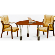 negotiation meeting round wooden/mdf/paper table 01