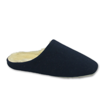 soft tweed cloth navy warm bedroom slippers