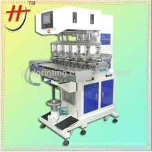 Hanjin Made 6 colors pad printer with conveyor ,model HP-300FZ widely used in daily articles , leather printing machine