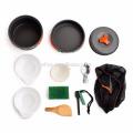 Напольный набор посуды для поваров для кемпинга 11 шт. Легкая кулинария включает в себя горшки, миски, посуду, огнестрельное оружие