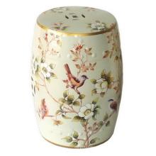 Tabouret de jardin en porcelaine Oiseaux de printemps