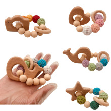 Wooden Teether Hedgehog Crochet Beads Wood Crafts Ring Engraved Bead Baby Teether Wooden Toys For Baby Rattle