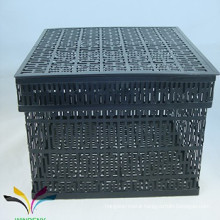 Household items metal wire mesh iron storage basket with lid for home