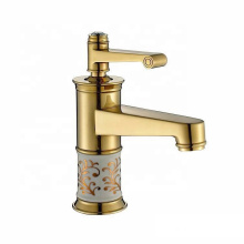 5896-11A Single handle golden taps , hot cold water hand wash basin golden faucet
