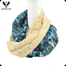 Многоцветный женский жаккардовый шарф с петлеобразным рисунком