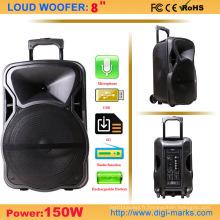 Haut-parleur portatif bon marché de chariot à piles avec USB / SD / FM / Bt