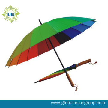 Promotional Rainbow Golf Sun-rain Straight Umbrella