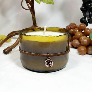 scented soy candles in wine bottle with incline cut bottom