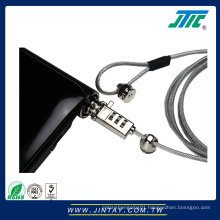 Combination security cable lock for laptop