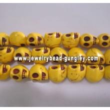 Grânulos de crânio Howlite - amarelos