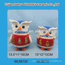 Decoração cerâmica feita à mão da coruja com luz conduzida / tealight para a decoração do Natal
