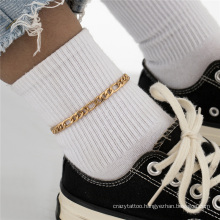 European and American Gold and Silver Retro Beach Personality Temperament Punk Hip Hop Ins Cuba Chain 3: 1 Fashion Jewellery Bracelet and Anklet for Women