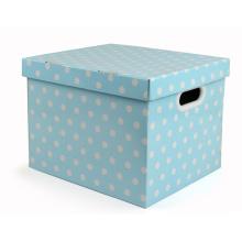Caixa de armazenamento de papel ondulado dobrável com alça